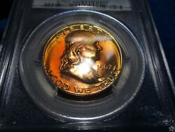 1962 Franklin Half Dollar Pf66 Obverse And Reverse Amber Copper Gold Toning Pcgs