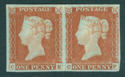 Sg 9 1d Pale Red-brown Horizontal Pair Lettered Ce-cf. Fine Unmounted Mint...