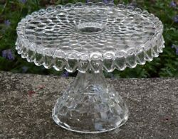 Fostoria American 10 Round Pedestal Footed Cake Plate Stand Glass Rum Well