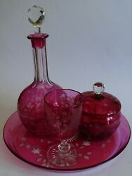 Vintage Set Night Service Glasses Englich Victorian Crystal Colored Cranberry