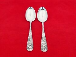 Pair Of Stieff Rose Sterling Silver Large Oval Dessert Spoons Gs-22