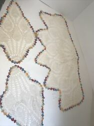 Vintage Hand Crochet 3pc. Chairhead And Arm Rests Covers Cream Color Multi C Trim