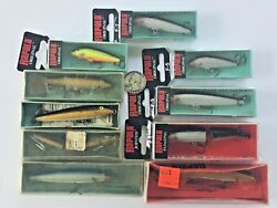 Vtg Lot 10 New Finland Fishing Lures Rapala Foil Jointed Minnows Box Floating A-