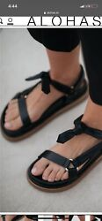 Made In Spain Sz 7.5 Us Alohas Tied Together Black Sandals Made In Spain Nwob