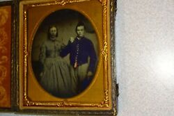 Civil War Soldier And Wife 1/6 Ambrotype - Full Case