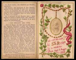 Our Lady Of The Rosary Of Pompeii And Rosary Antiq 1885 W/ Gold Holy Card Booklet
