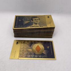 Great Gift 100pcs Eth Ethereum Vitalik Buterin Gold Crypto Banknote Physical Btc