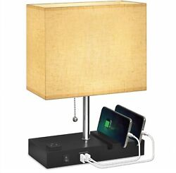 Usb Bedside Lamp With Phone Standshansang Table Lamp Dual Charging Portsnights