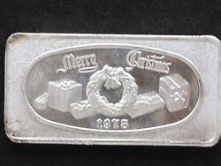 1973 Merry Christmas Silver Art Bar Glm-8 Great Lakes Mint P1088