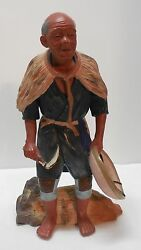Asian Oriental Old Man Farmer Figurine Holding Sickle Knife And Conical Hat Straw
