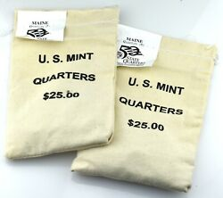 2 Mint Sewn Sealed 25 Maine 2003 P D State Quarter Bags