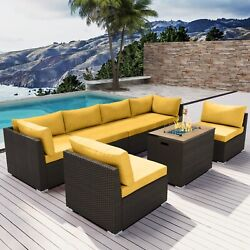 Modenzi G7 Outdoor Wicker Patio Furniture With Rectangular Fire Pit Yellow