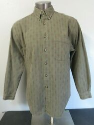 Mens The Territory Ahead Long Sleeve Button Front Heavy Shirt Size L Green