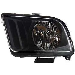 Headlight For 2007 2008 2009 Ford Mustang Left Black Housing With Bulb