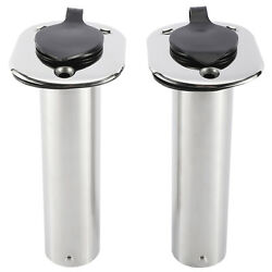 2 Pack 90 Degree Fishing Boat Rod Holders With Rubber Cap Stainless Steel