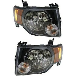 Headlight Set For 2009-2012 Ford Escape Left And Right Black Housing 2pc