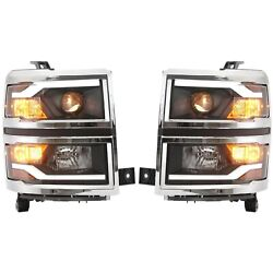 New Headlight Driving Head Light Headlamp Driver And Passenger Side For Chevy