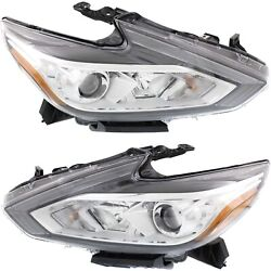 Headlight Set For 2016-2018 Nissan Altima Left And Right Chrome Housing Capa 2pc