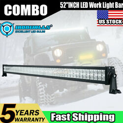 52inch 700w Led Work Light Bar Spot Flood For Offroad Suv Atv Boat Driving 54