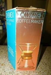 Vintage Chemex Glass Coffee Pot 2-8 Cups In Box Made In Usa Mint