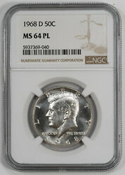 1968 D Kennedy Half Dollar 50c Ngc Ms 64 Pl Mint State Unc Proof-like 040