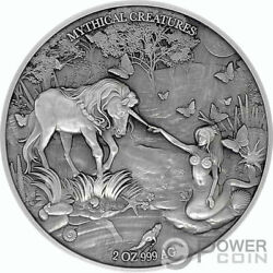 Mermaid And Unicorn Mythical Creatures 2 Oz Silver Coin 10000 Francs Chad 2021