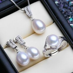 Women's Silver Color Necklaces Natural Freshwater Pearl Vintage Jewelry Sets