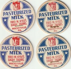 Lot Of 4 Milk Bottle Caps. Fred M. Kyleand039s Dairy Farms. Mackeyville Pa.