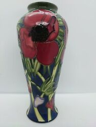 Moorcroft Anemone Tall Blue Vase By Emma Bossons