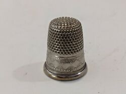 Size 8 German Germany Thimble With Pattern USED Silver Tone Metal