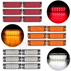 6x 12 Led 8 Inch Red Side Marker Tail Light For Pickup Trailer+6x Amber+6x White