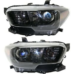 Headlight Set For 2017-2018 Toyota Tacoma Left And Right Black Housing 2pc