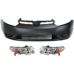 Bumper Cover Kit For 2006-2007 Honda Civic Front 3pc