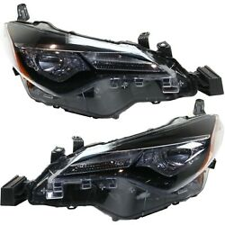 Headlight Set For 2017-2018 Toyota Corolla Left And Right Led With Bulb 2pc