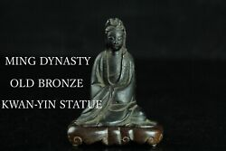 May030 Ming Dynasty Chinese Bronze Kwan-yin Statue Kannon With Wood Stand Box