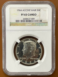 1964 Accented Hair Kennedy Half Dollar Silver Ngc Pf65cam Pf-65-cameo Proof Coin