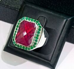 Natural Ruby And Onyx Gemstone With 925 Sterling Silver Ring For Menand039s 1611