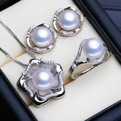 Women's Bohemian Stud Necklace 925 Sterling Silver Vintage Pearl Jewelry Sets