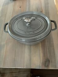 Staub Cast Iron 5.5 Quart Cocotte 31 Gray New Nwob Rooster Knob Oval