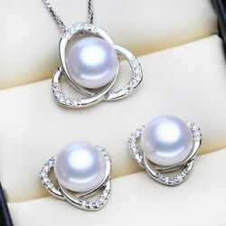 Women's Vintage Jewelry Sets 925 Sterling Silver Natural Pearls Stud Necklaces