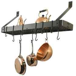Wall-mounted Bookshelf Pot Rack With Grid And 12 Hooks