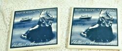 2 Holland America Line Rotterdam Ny Delft Tiles W/ Cork Girl By Sea 4 X 4 Exc
