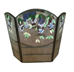 Fireplace Screen Style Stained Glass 3 Section Wisteria