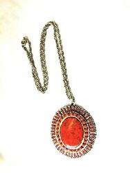 Stunning And039make A Statement Red And Silvertone Costume Jewelry Necklace