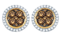 0.5ct Champagne And Natural Diamond Frame Cluster Stud Earrings In 10k Yellow Gold