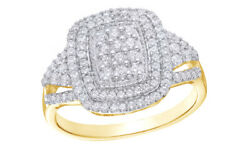 1/2 Ct White Natural Diamond Cluster Double Frame Ring 10k Yellow Gold
