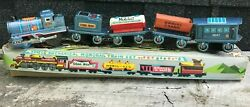 1960and039s Daiya Japan Tin 5 Piece Mechanical Monorail Train Set - Excellent