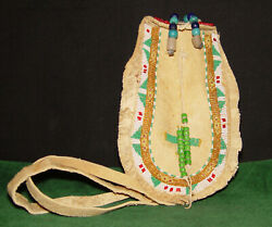Antique 1800and039s Native American Comanche Or Plains Indian Ladieand039s Medicine Pouch