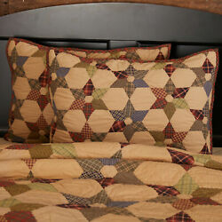 Tea Star Cotton Quilted Bedding Vhc Country Primitive Antique Cabin Style