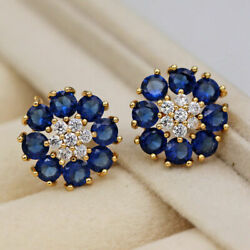 2ct Round Cut 2 Layer Flower Blue Sapphire Stud Earrings In 14k Yellow Gold Over
